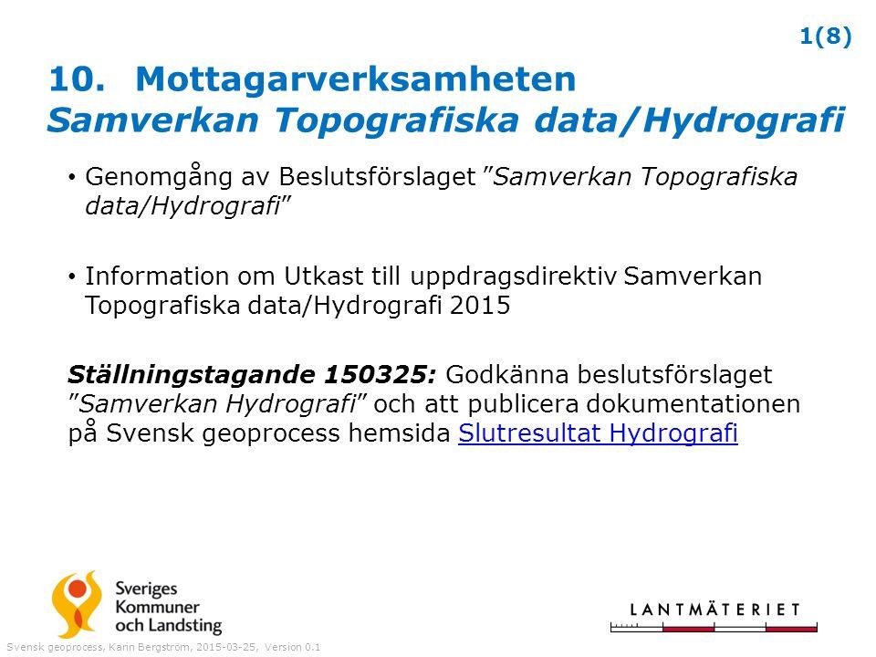 10. Mottagarverksamheten Samverkan Topografiska data/Hydrografi