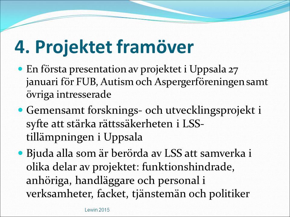 4. Projektet framöver En första presentation av projektet i Uppsala 27 januari för FUB, Autism och Aspergerföreningen samt övriga intresserade.