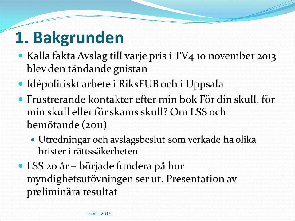 1. Bakgrunden Kalla fakta Avslag till varje pris i TV4 10 november 2013 blev den tändande gnistan. Idépolitiskt arbete i RiksFUB och i Uppsala.