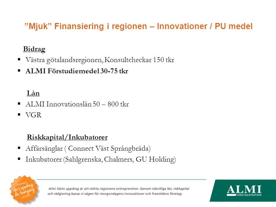 Mjuk Finansiering i regionen – Innovationer / PU medel