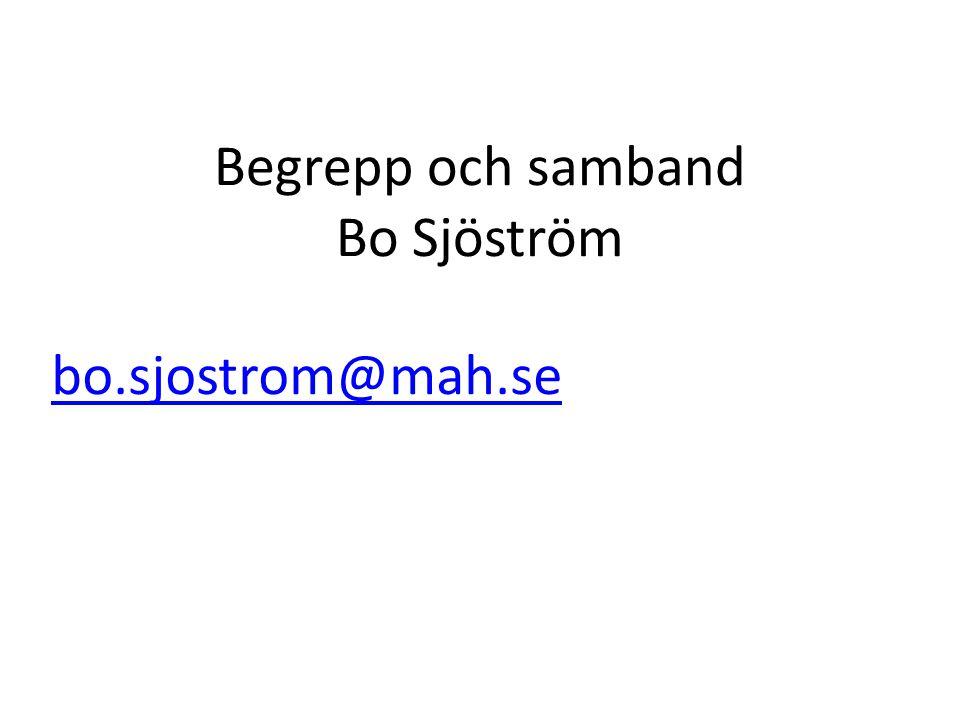 Begrepp och samband Bo Sjöström