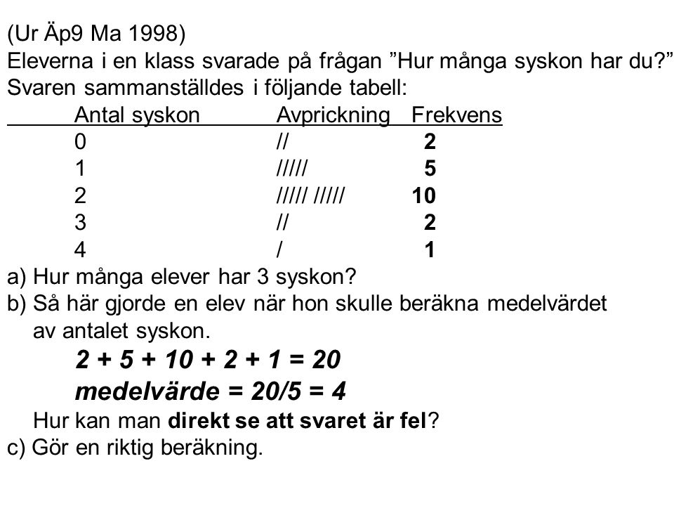 (Ur Äp9 Ma 1998) Eleverna i en klass svarade på frågan Hur många syskon har du Svaren sammanställdes i följande tabell: