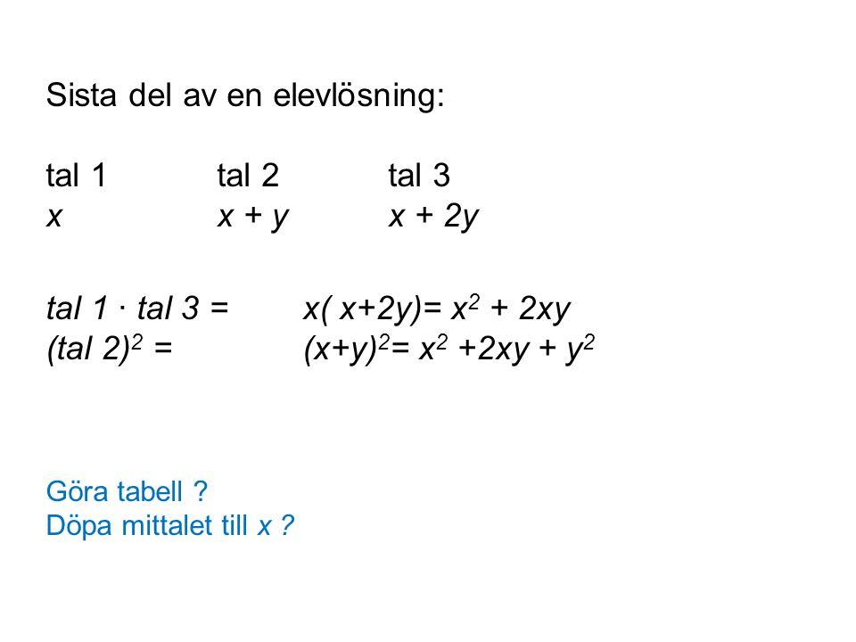 Sista del av en elevlösning: tal 1 tal 2 tal 3 x x + y x + 2y