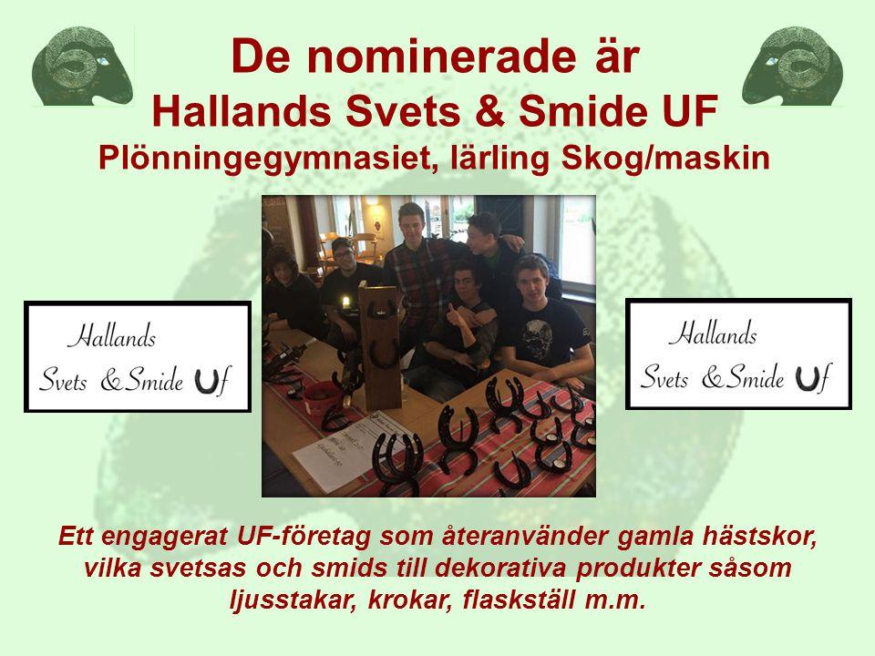 De nominerade är Hallands Svets & Smide UF Plönningegymnasiet, lärling Skog/maskin
