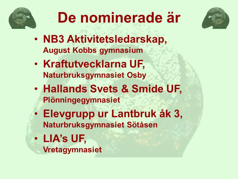 De nominerade är NB3 Aktivitetsledarskap, August Kobbs gymnasium