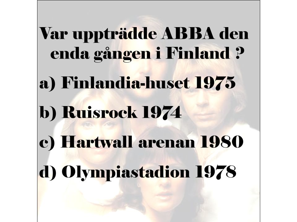 Var uppträdde ABBA den enda gången i Finland