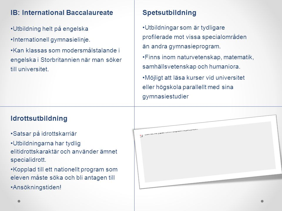IB: International Baccalaureate Spetsutbildning