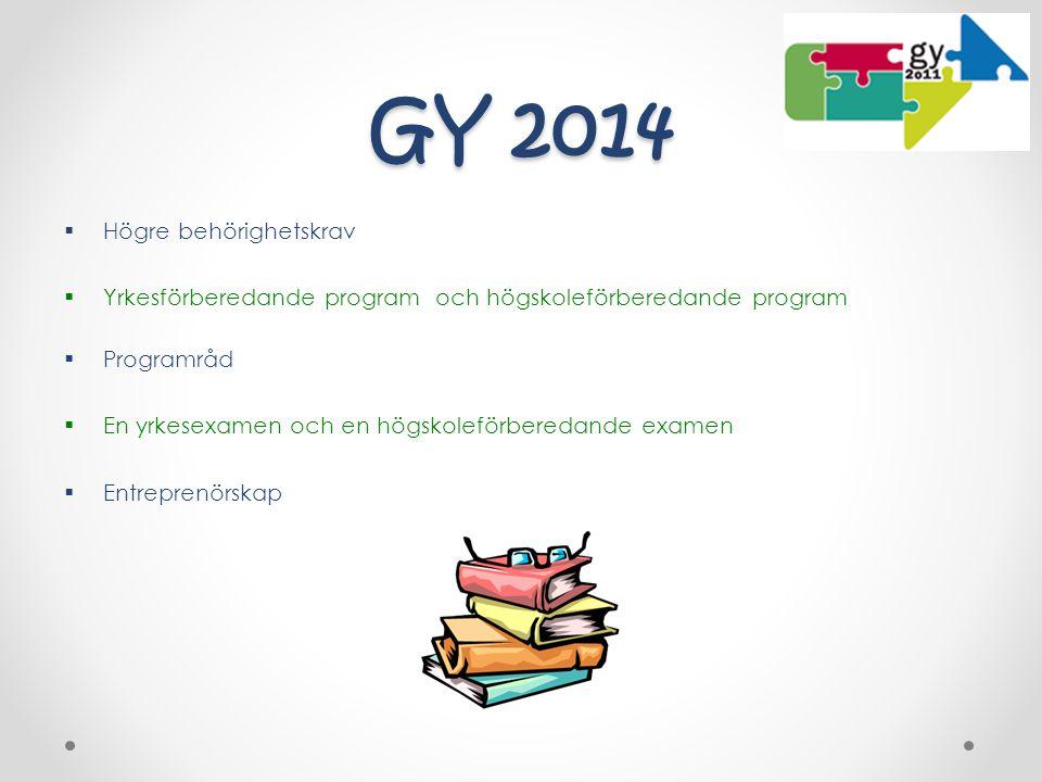 GY 2014 Högre behörighetskrav