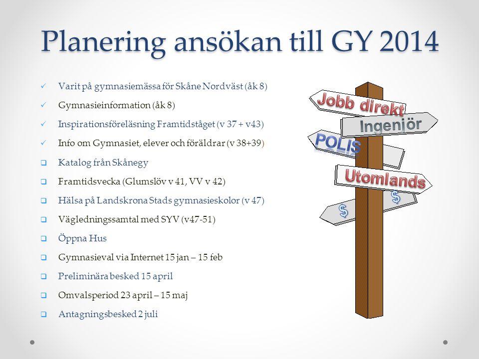 Planering ansökan till GY 2014