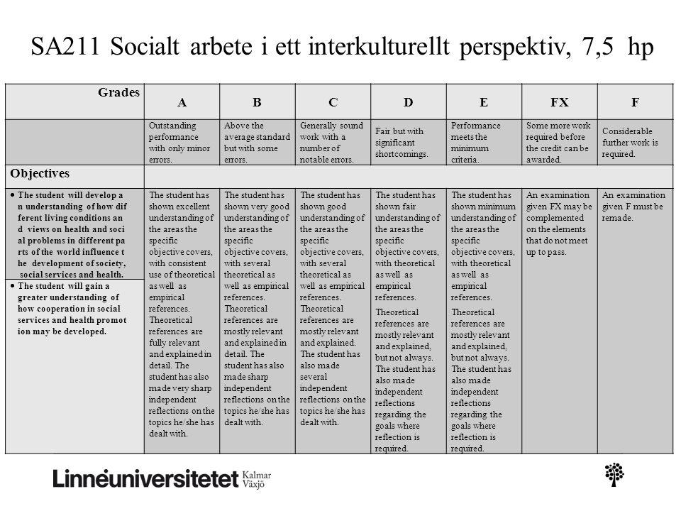 SA211 Socialt arbete i ett interkulturellt perspektiv, 7,5 hp