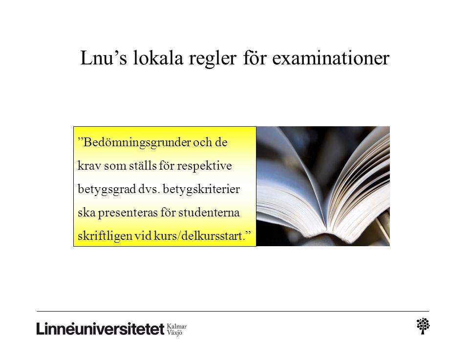 Lnu's lokala regler för examinationer