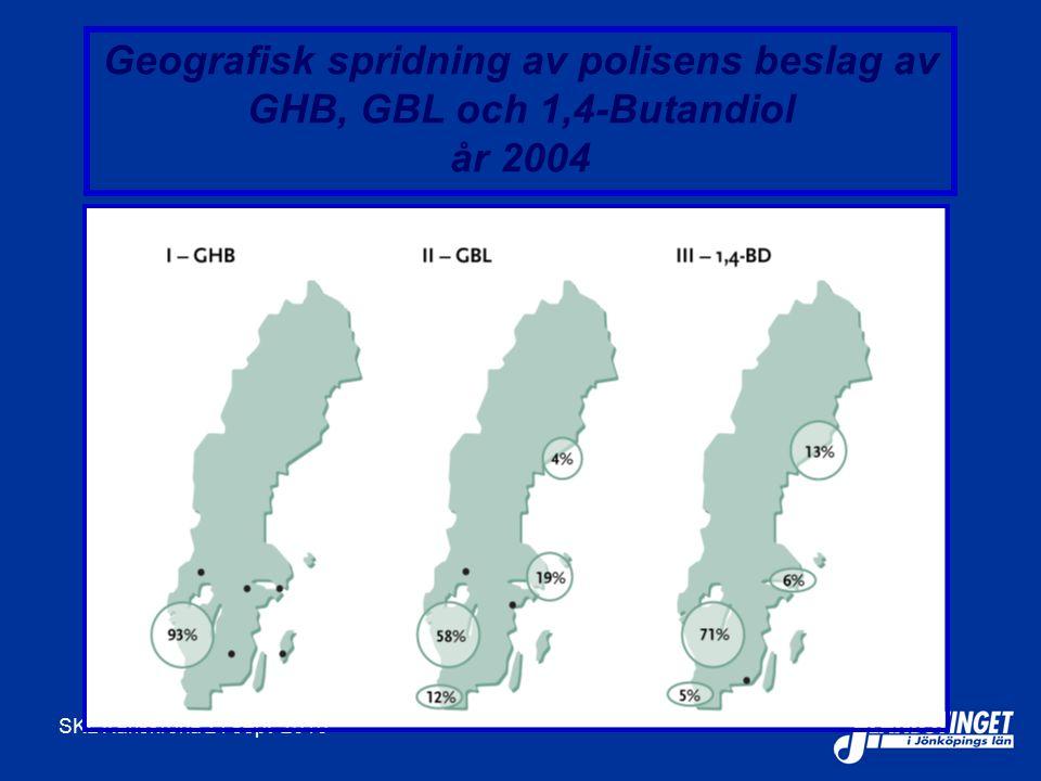Geografisk spridning av polisens beslag av GHB, GBL och 1,4-Butandiol