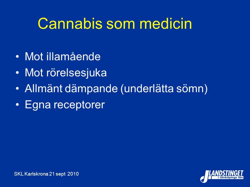 Cannabis som medicin Mot illamående Mot rörelsesjuka