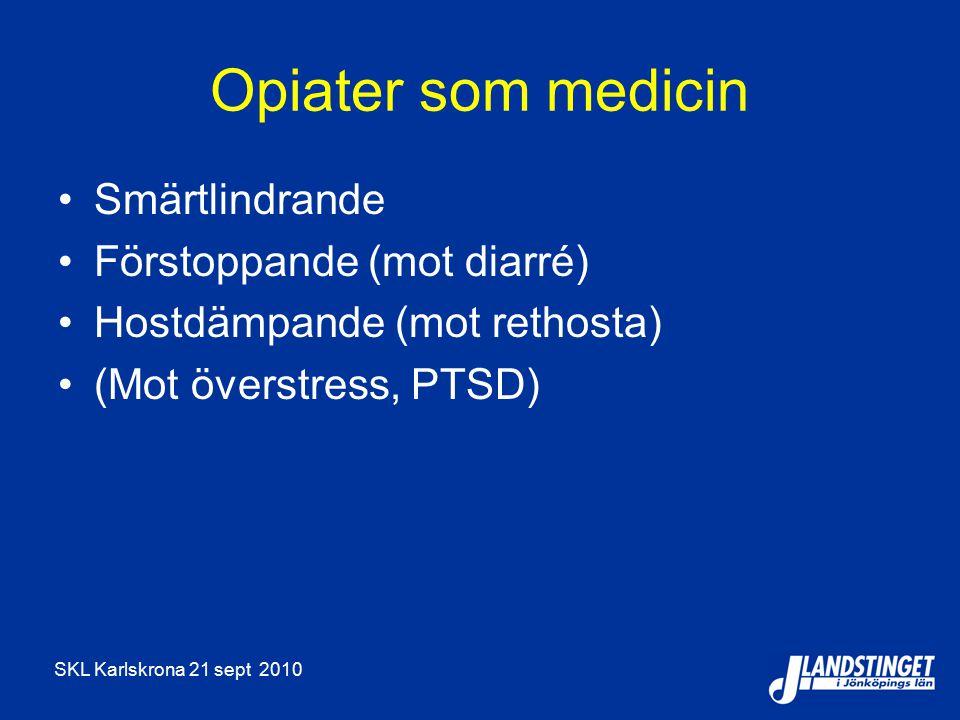 Opiater som medicin Smärtlindrande Förstoppande (mot diarré)