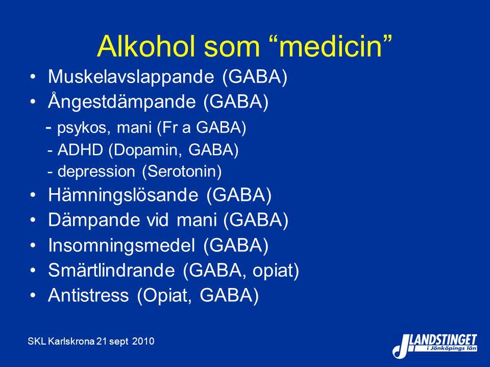 Alkohol som medicin Muskelavslappande (GABA) Ångestdämpande (GABA)
