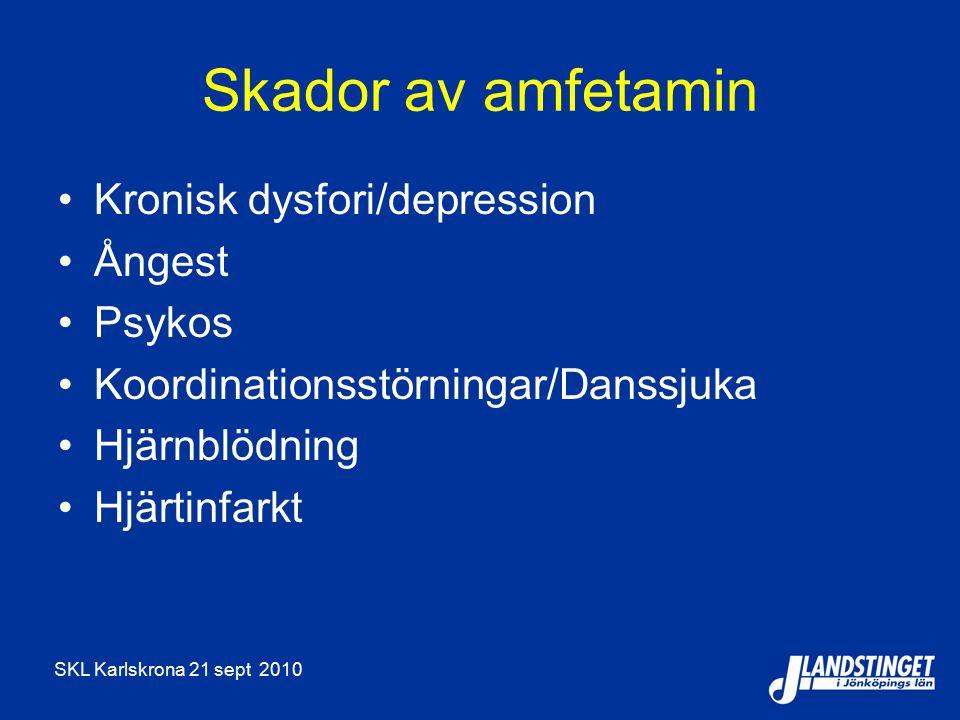 Skador av amfetamin Kronisk dysfori/depression Ångest Psykos