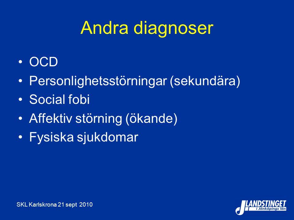 Andra diagnoser OCD Personlighetsstörningar (sekundära) Social fobi
