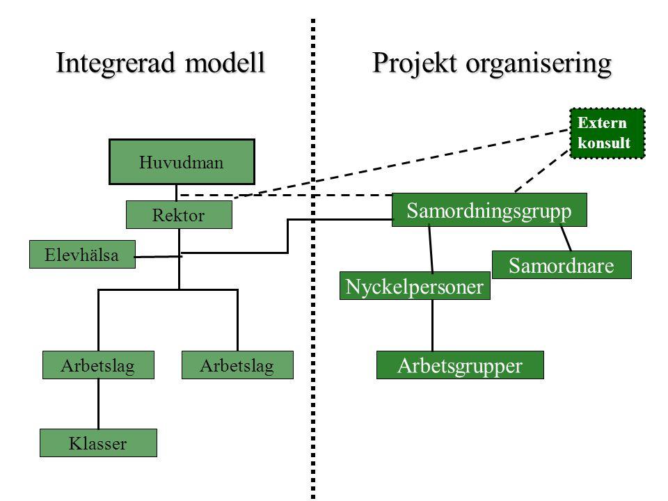 Integrerad modell Projekt organisering Samordningsgrupp Samordnare