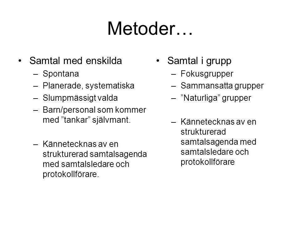 Metoder… Samtal med enskilda Samtal i grupp Spontana