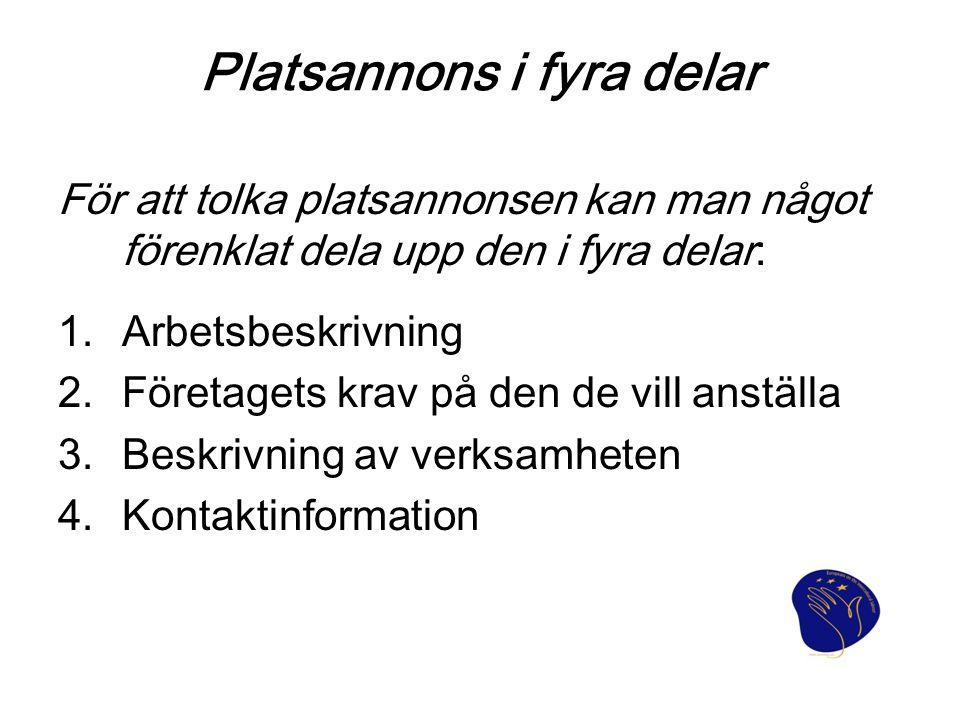 Platsannons i fyra delar
