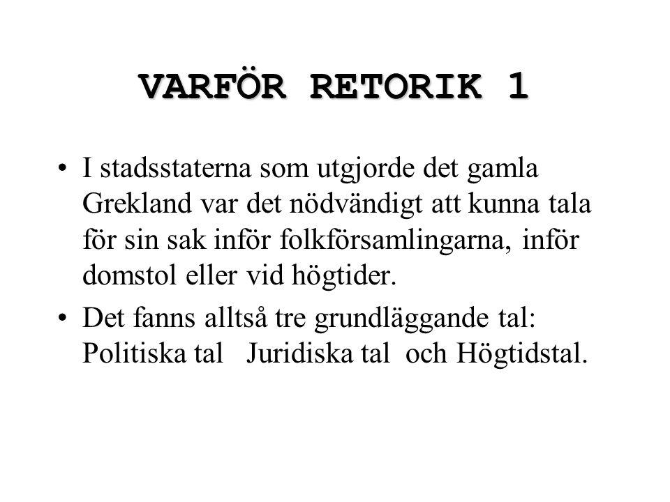 VARFÖR RETORIK 1