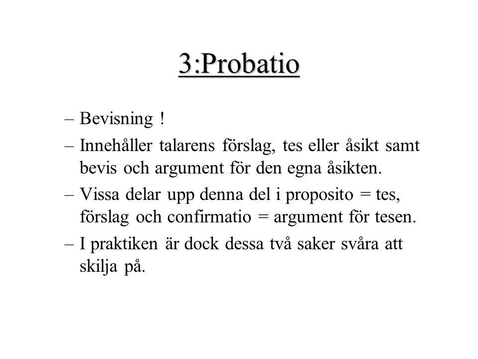 3:Probatio Bevisning ! Innehåller talarens förslag, tes eller åsikt samt bevis och argument för den egna åsikten.