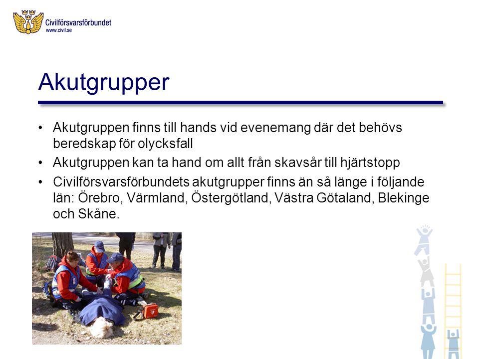 Akutgrupper Akutgruppen finns till hands vid evenemang där det behövs beredskap för olycksfall.