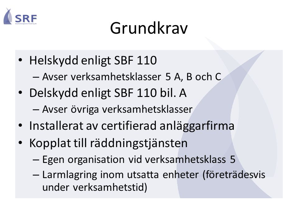 Grundkrav Helskydd enligt SBF 110 Delskydd enligt SBF 110 bil. A