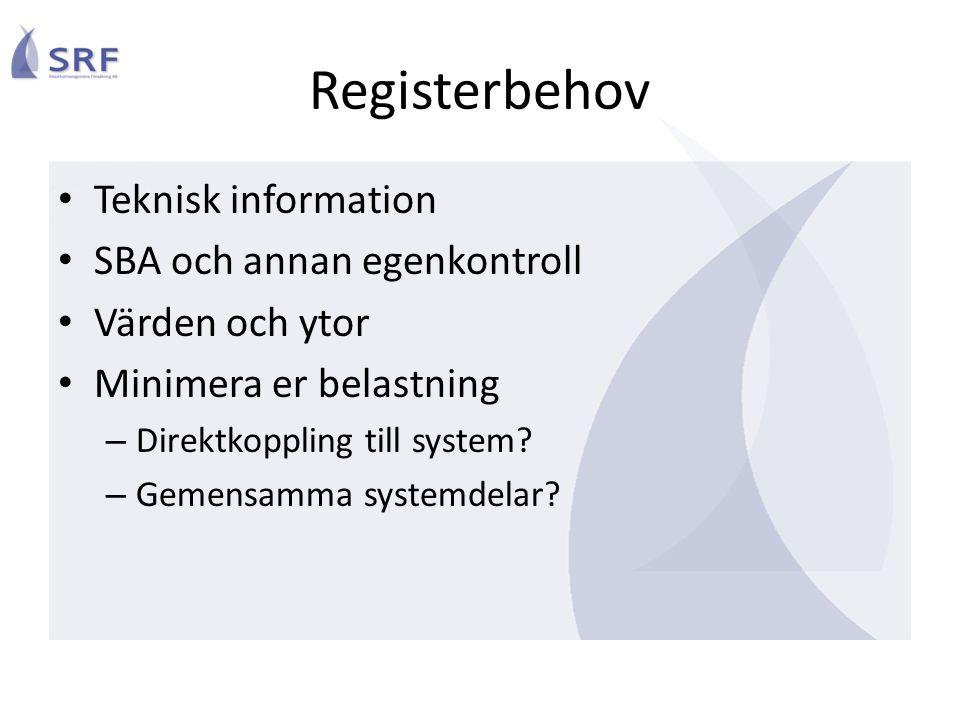 Registerbehov Teknisk information SBA och annan egenkontroll