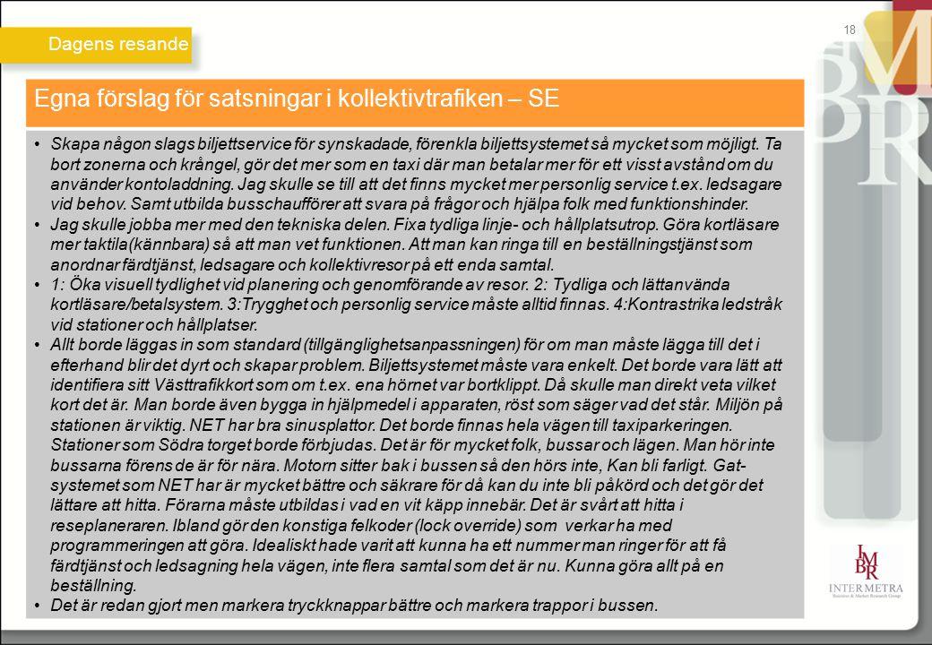 Egna förslag för satsningar i kollektivtrafiken – SE