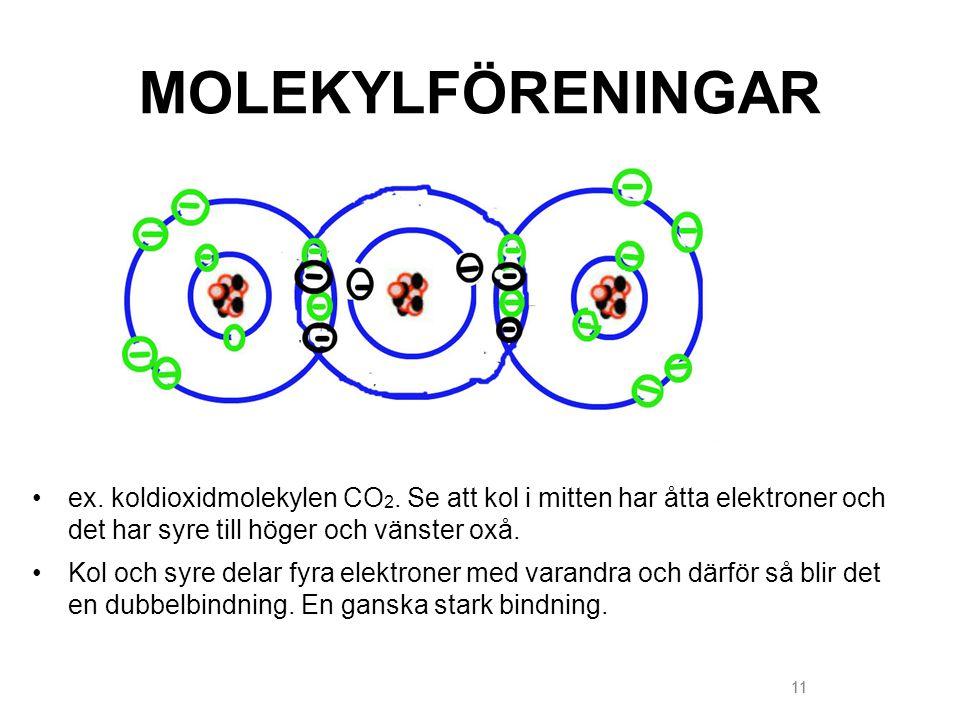 MOLEKYLFÖRENINGAR ex. koldioxidmolekylen CO2. Se att kol i mitten har åtta elektroner och det har syre till höger och vänster oxå.