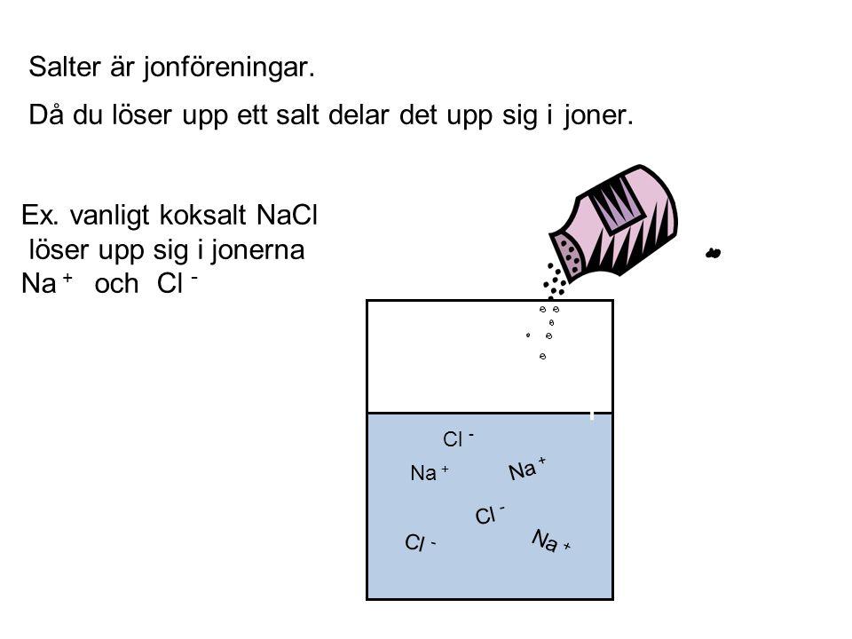Ex. vanligt koksalt NaCl löser upp sig i jonerna Na + och Cl -