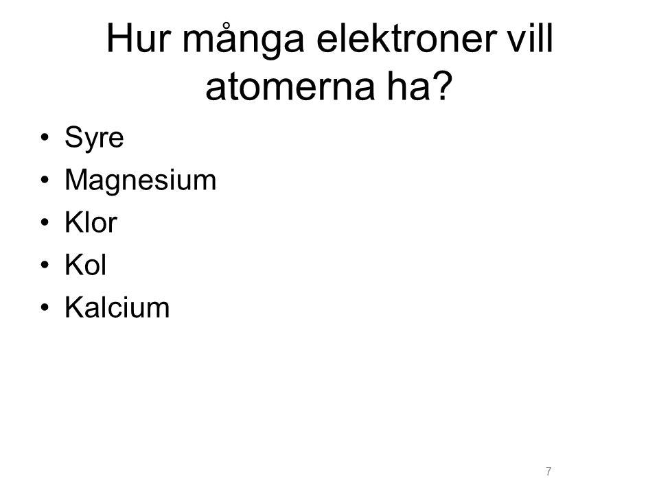 Hur många elektroner vill atomerna ha