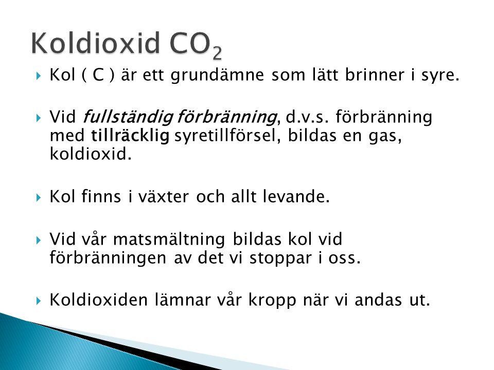 Koldioxid CO2 Kol ( C ) är ett grundämne som lätt brinner i syre.