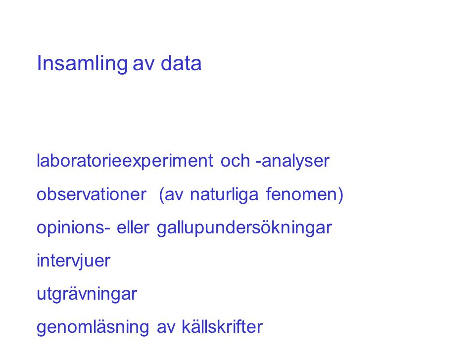 Insamling av data laboratorieexperiment och -analyser