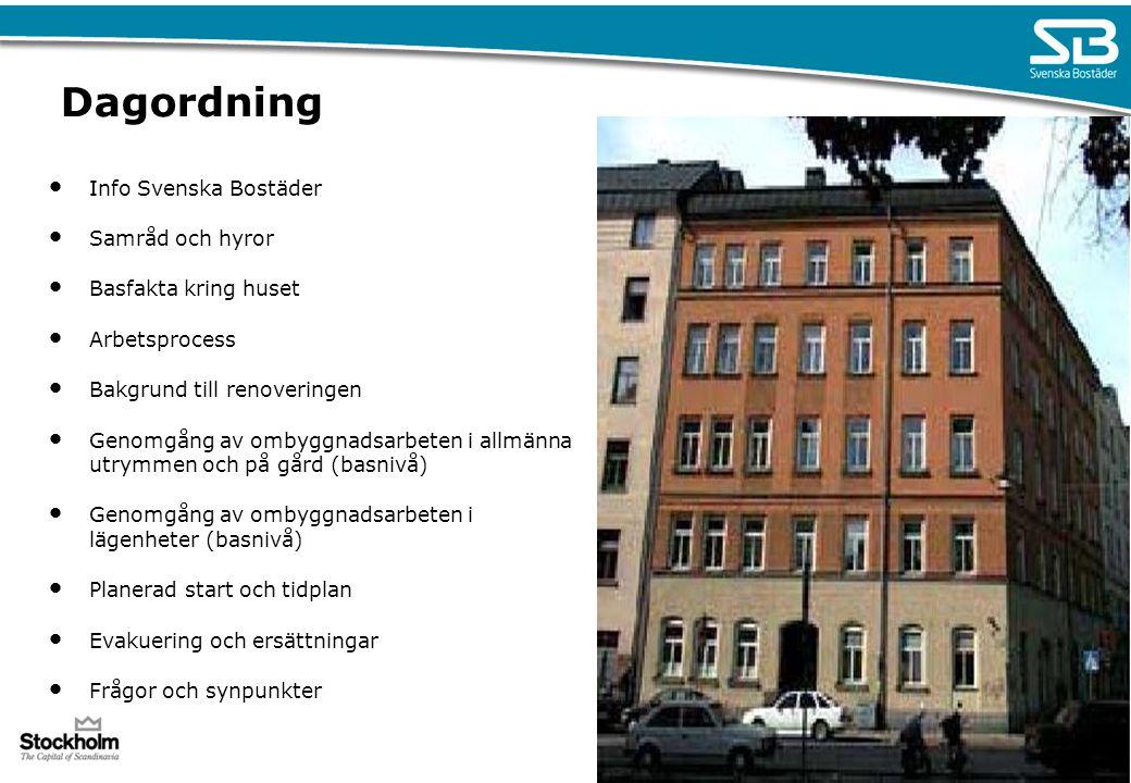 Dagordning Info Svenska Bostäder Samråd och hyror Basfakta kring huset