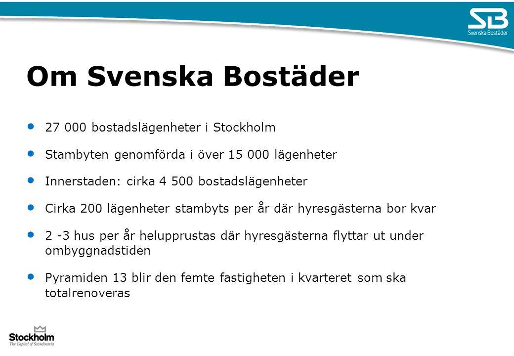 Om Svenska Bostäder 27 000 bostadslägenheter i Stockholm