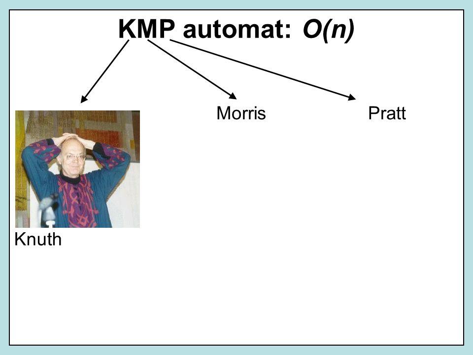 KMP automat: O(n) Morris Pratt Knuth