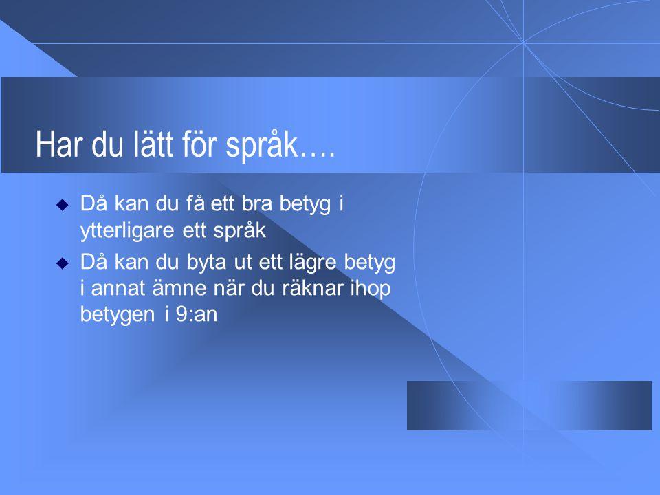 Har du lätt för språk…. Då kan du få ett bra betyg i ytterligare ett språk.