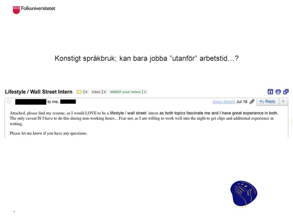 Detta är det andra mailet i en mail-konversation.