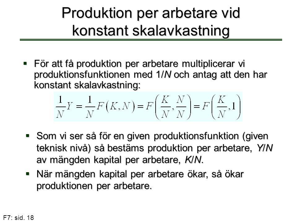 Produktion per arbetare vid konstant skalavkastning