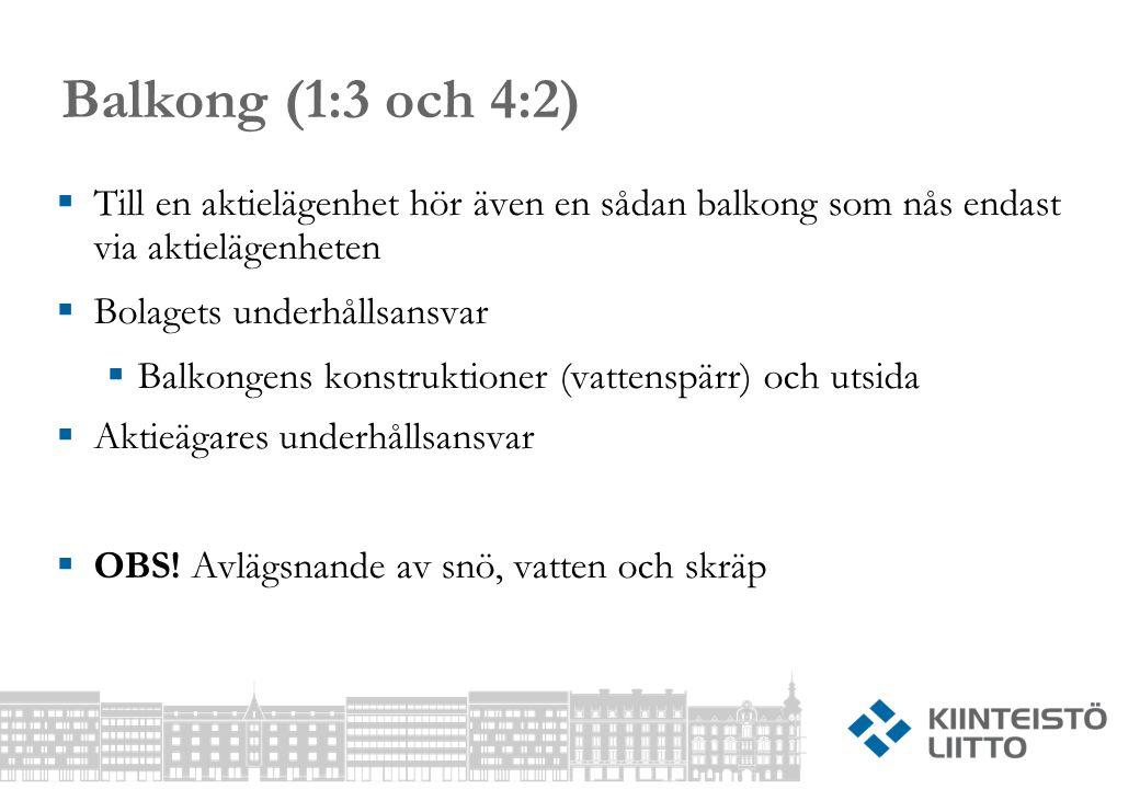 Balkong (1:3 och 4:2) Till en aktielägenhet hör även en sådan balkong som nås endast via aktielägenheten.