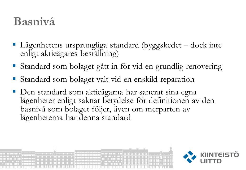 Basnivå Lägenhetens ursprungliga standard (byggskedet – dock inte enligt aktieägares beställning)