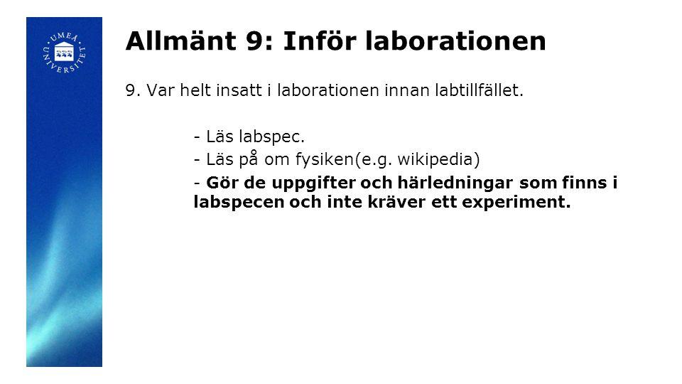 Allmänt 9: Inför laborationen