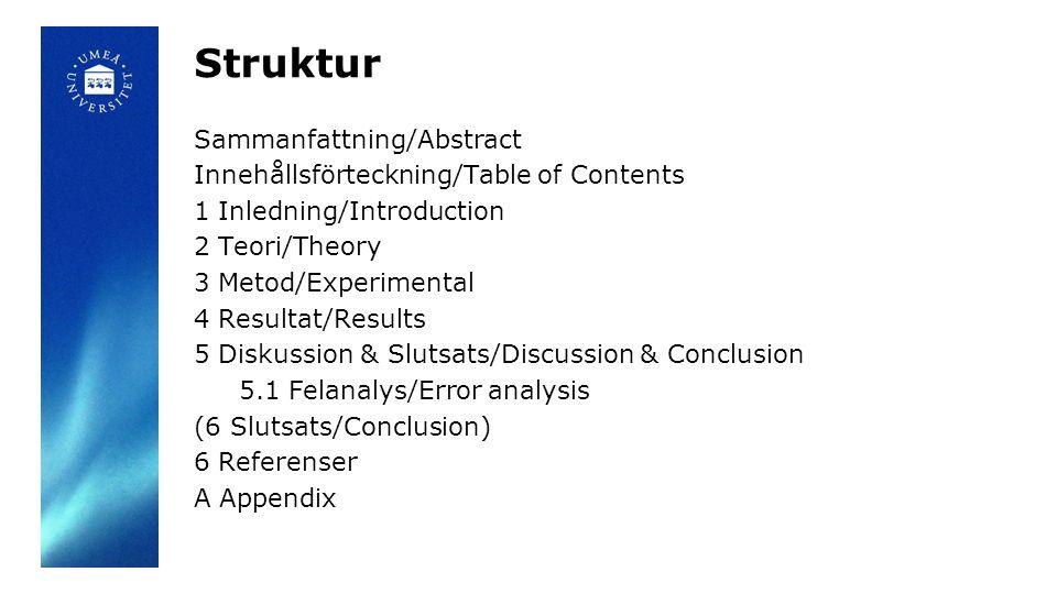 Struktur Sammanfattning/Abstract