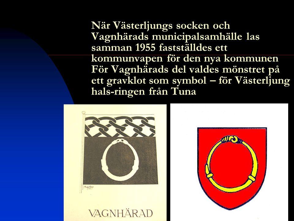 När Västerljungs socken och Vagnhärads municipalsamhälle las samman 1955 fastställdes ett kommunvapen för den nya kommunen För Vagnhärads del valdes mönstret på ett gravklot som symbol – för Västerljung hals-ringen från Tuna