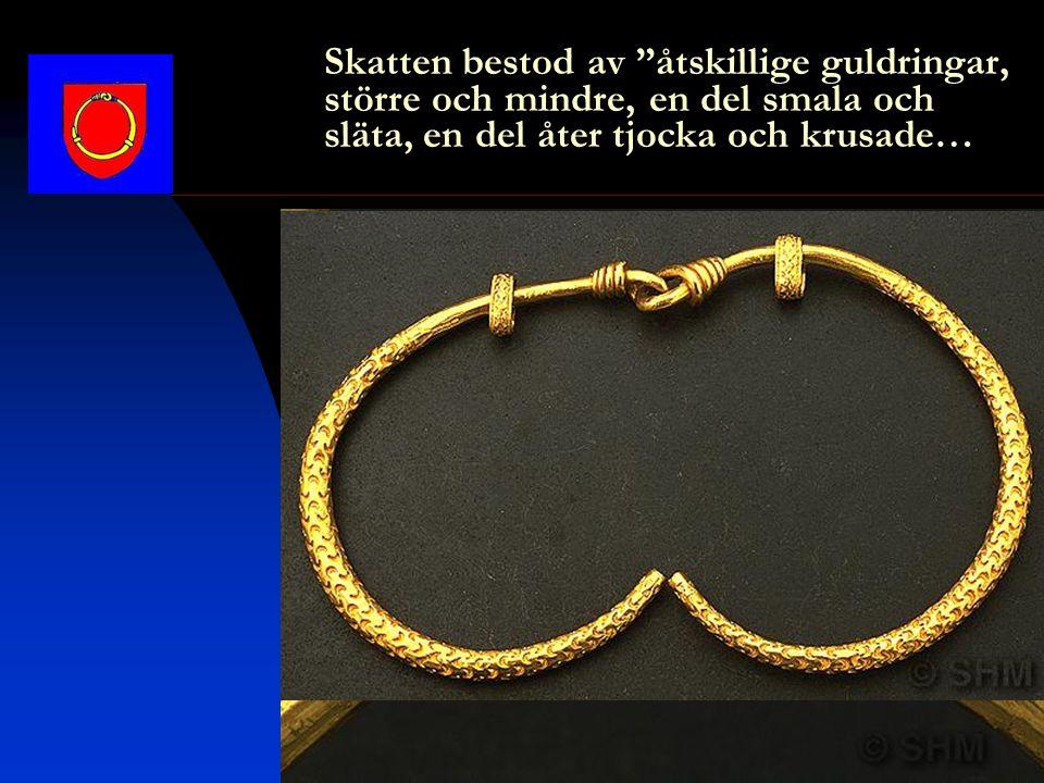 Skatten bestod av åtskillige guldringar, större och mindre, en del smala och släta, en del åter tjocka och krusade…