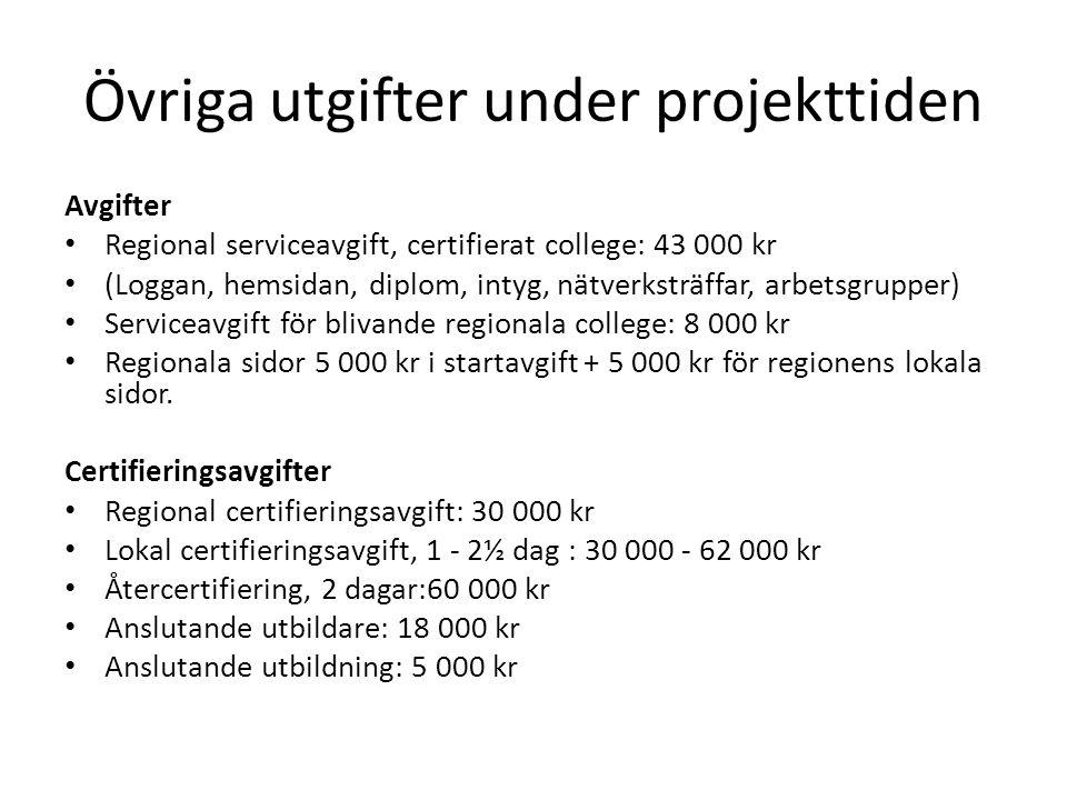 Övriga utgifter under projekttiden