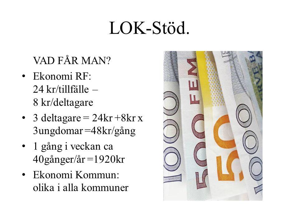 LOK-Stöd. VAD FÅR MAN Ekonomi RF: 24 kr/tillfälle – 8 kr/deltagare