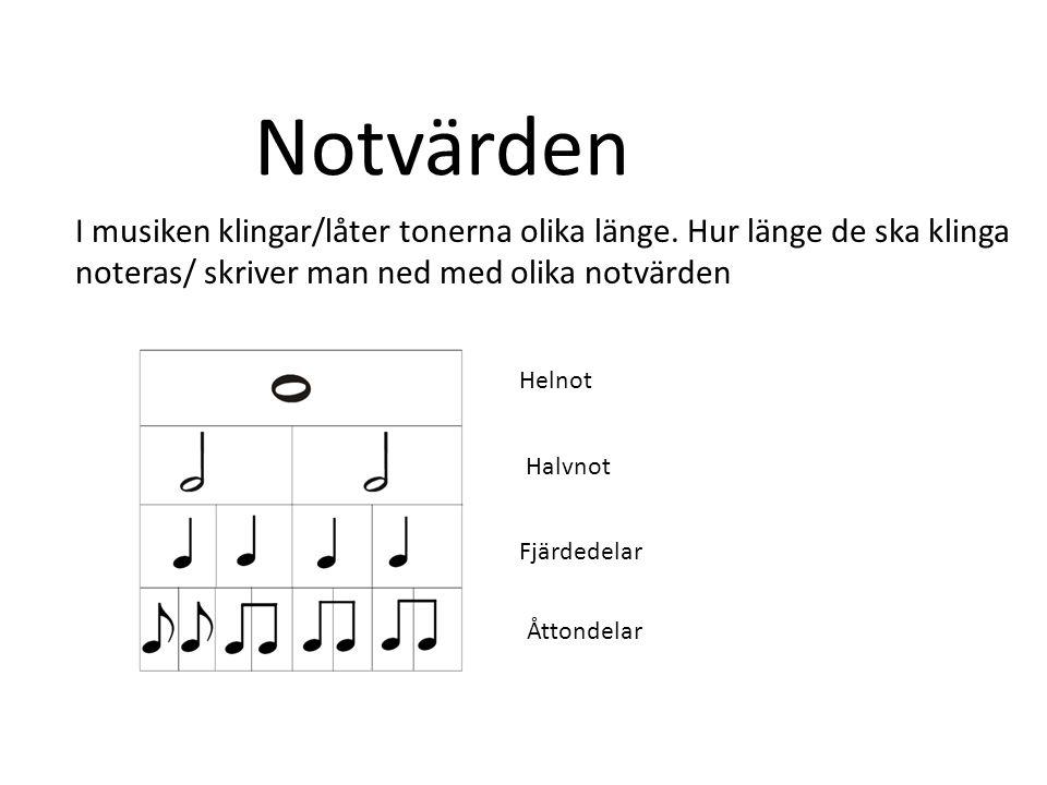 Notvärden I musiken klingar/låter tonerna olika länge. Hur länge de ska klinga. noteras/ skriver man ned med olika notvärden.